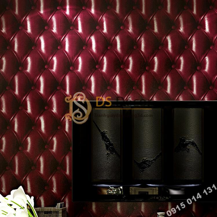 Giấy dán tường kiểu bọc da sofa Chesterfield 3D284 màu đỏ đậm