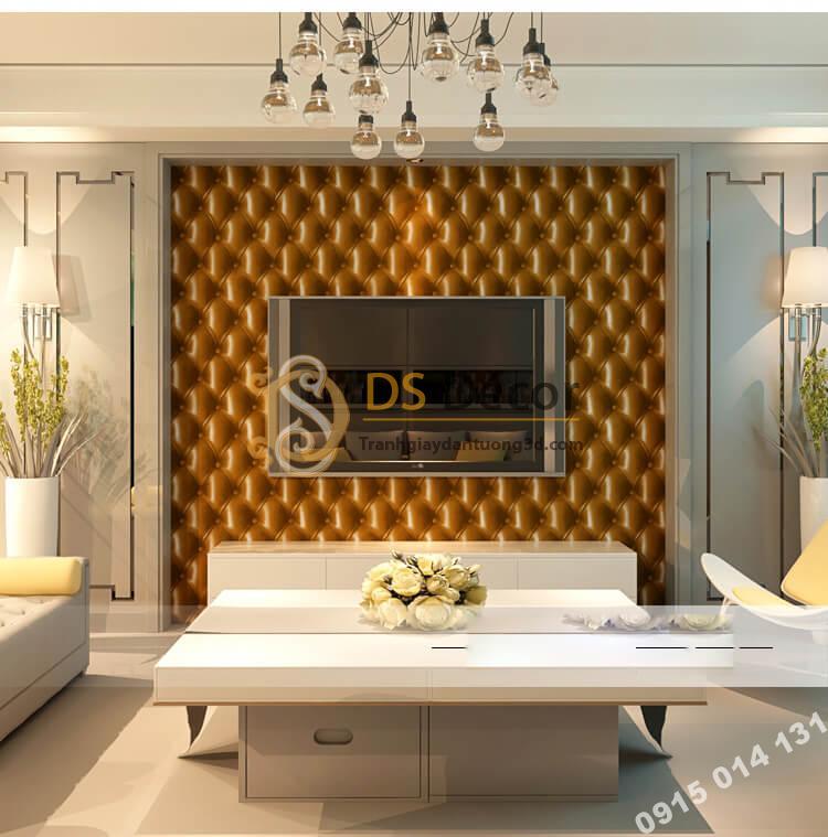 Giấy dán tường kiểu bọc da sofa Chesterfield 3D284 màu nâu vàng