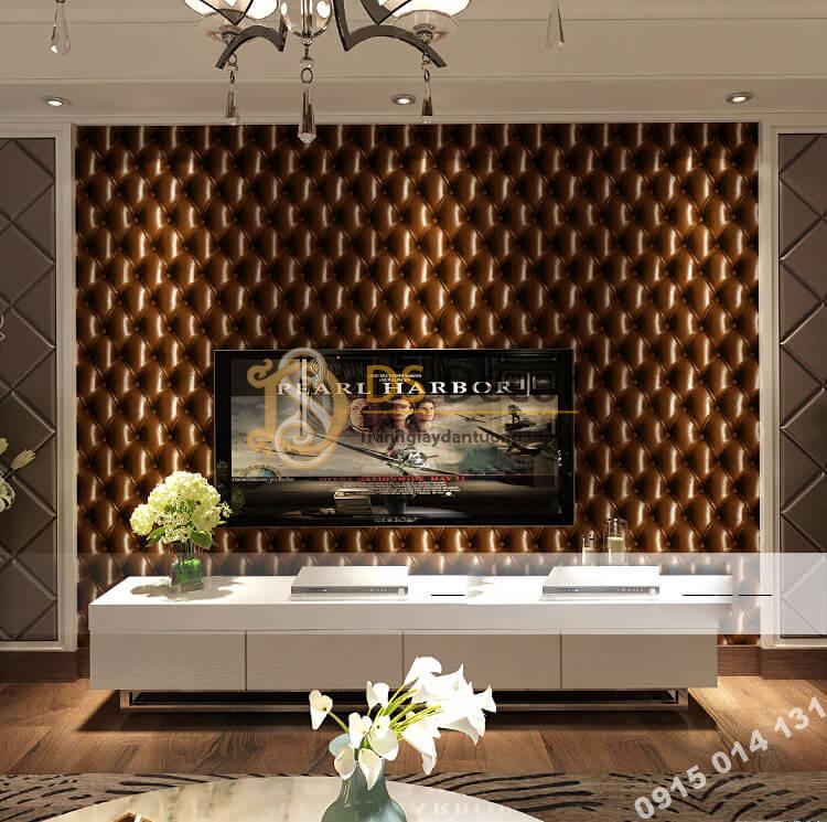 Giấy dán tường kiểu bọc da sofa Chesterfield 3D284 màu nâu