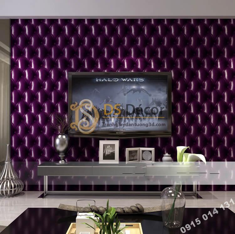 Giấy dán tường kiểu bọc da sofa Chesterfield 3D284 màu tím