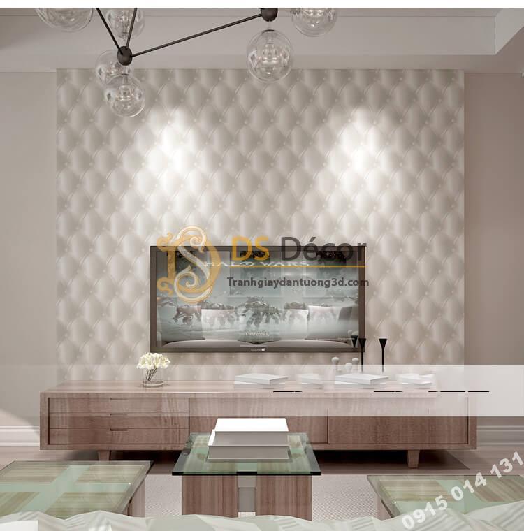 Giấy dán tường kiểu bọc da sofa Chesterfield 3D284 màu trắng
