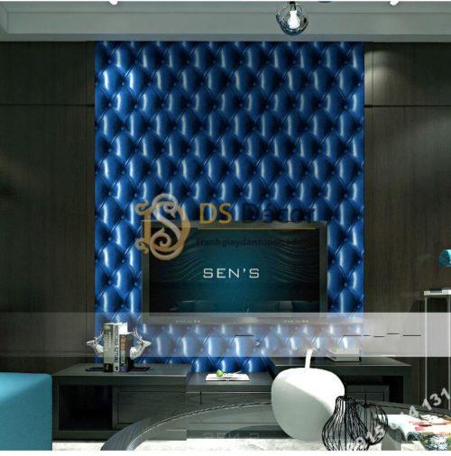 Giấy dán tường kiểu bọc da sofa Chesterfield 3D284 màu xanh