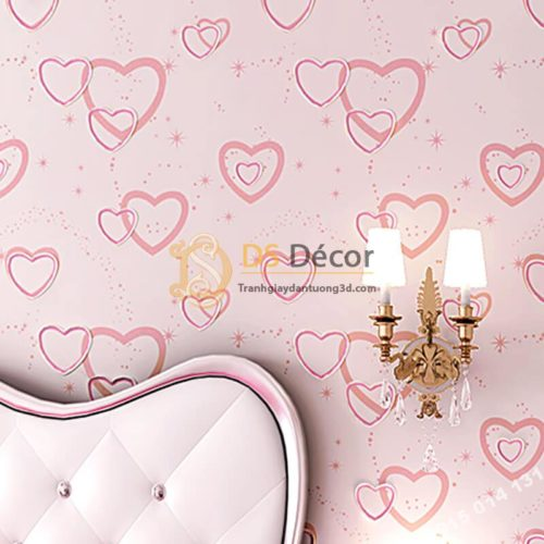 Giấy dán tường trái tim lãng mạn 3D286 màu hồng
