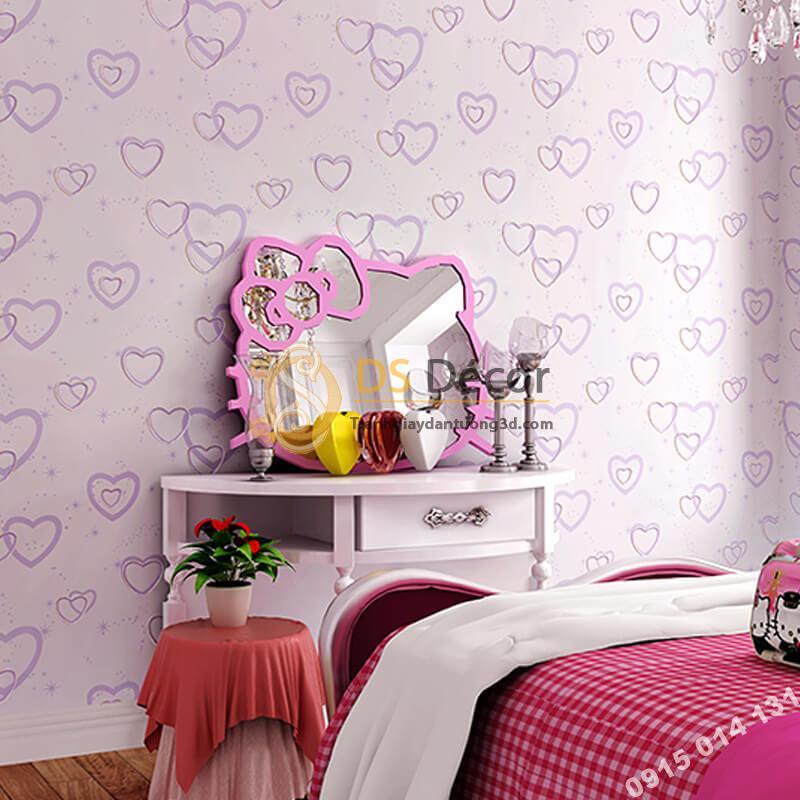 Giấy dán tường trái tim lãng mạn 3D286 màu tím phòng ngủ