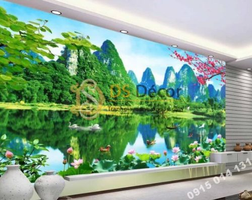 Tranh 3D dán tường sơn thủy hữu tình phòng khách - 5D003