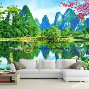 Tranh 3D dán tường sơn thủy hữu tình trang trí phòng khách - 5D003