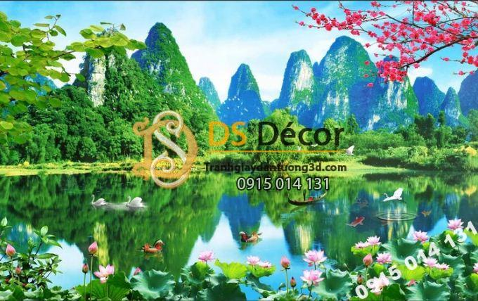 Tranh 3D dán tường phong cảnh sơn thủy hữu tình trang trí phòng khách - 5D003