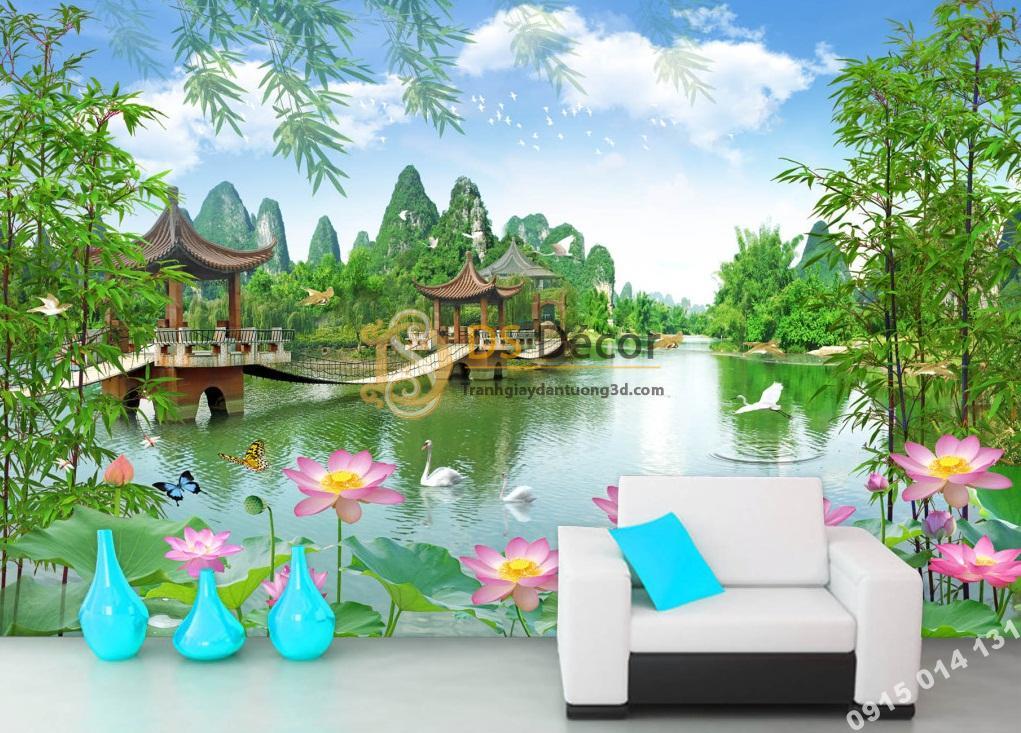 Tranh dán tường 3D - Tranh phong cảnh cây cầu ao sen phòng khách 5D014