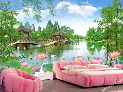 Tranh dán tường 3D - Tranh phong cảnh cây cầu ao sen phòng ngủ 5D014