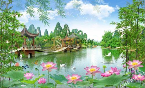 Tranh dán tường 3D - Tranh phong cảnh cây cầu ao sen 5D014