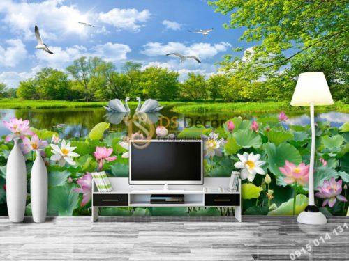 Tranh phong cảnh ao sen sơn thủy hữu tình dán sau tivi phòng khách 5D012