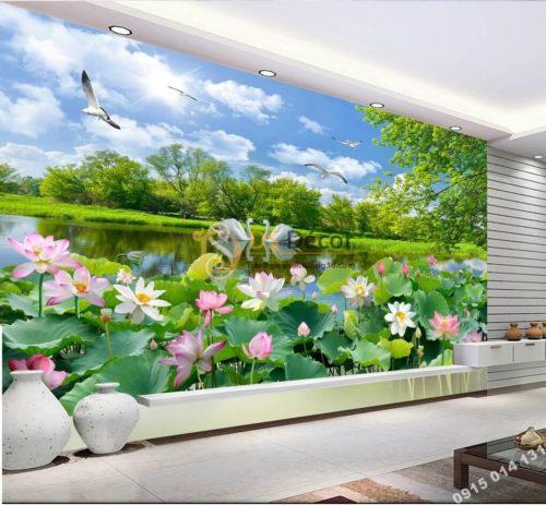 Tranh phong cảnh ao sen sơn thủy hữu tình dán phòng khách 5D012