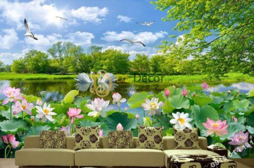 Tranh dán tường phong cảnh ao sen - 5D012