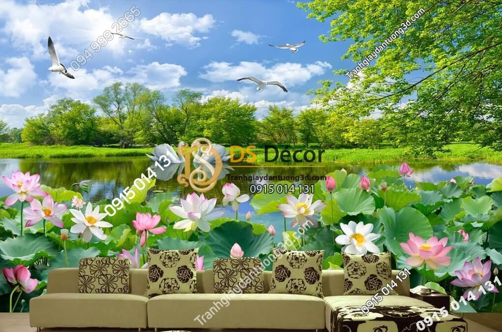 Tranh phong cảnh hồ sen thanh bình dán phòng khách - 5D012