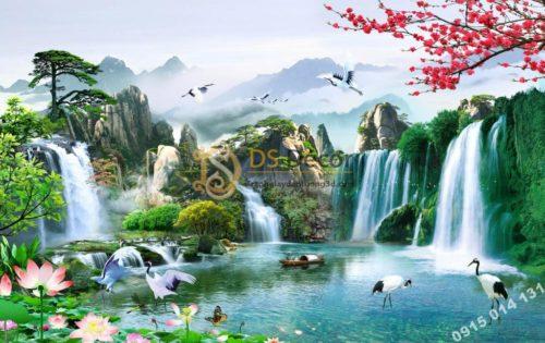 Tranh phong cảnh thác nước sơn thủy hữu tình 5D015
