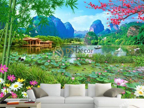 Tranh dán tường phong cảnh sơn thủy ao sen 5D009