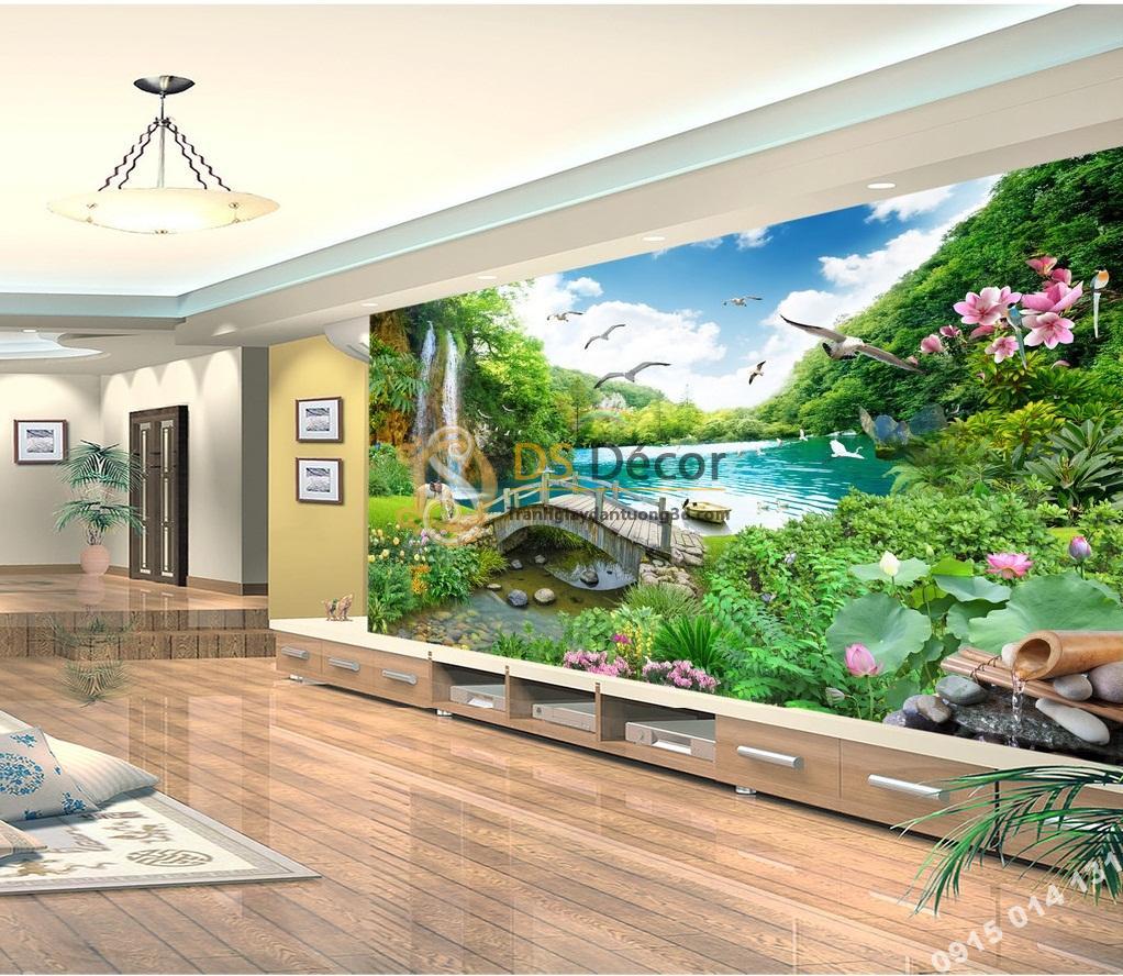 Tranh phong cảnh thác nước thần tiên 5D013