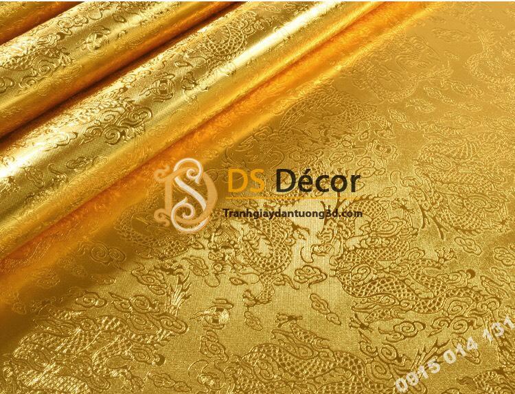 Giấy dán tường họa tiết hình rồng vàng 3D298
