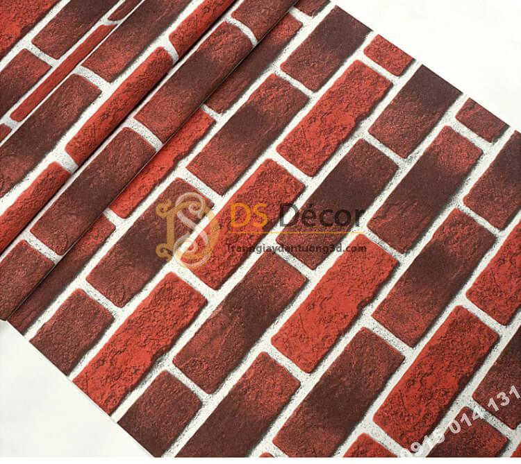Bề mặt Giấy dán tường giả gạch cháy đỏ đen 3D302
