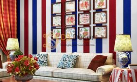 Giấy dán tường caro sọc xanh đỏ 3D301 dán phòng khách