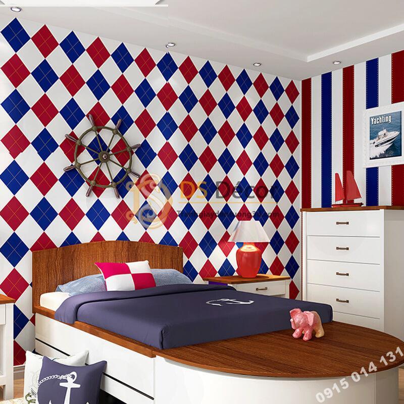 Giấy dán tường caro sọc xanh đỏ 3D301 dán phòng ngủ
