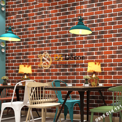 Giấy dán tường giả gạch cháy đỏ đen 3D302 quán cafe trà sữa