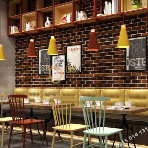 Giấy dán tường giả gạch cháy vàng đen 3D302 quán cafe trà sữa
