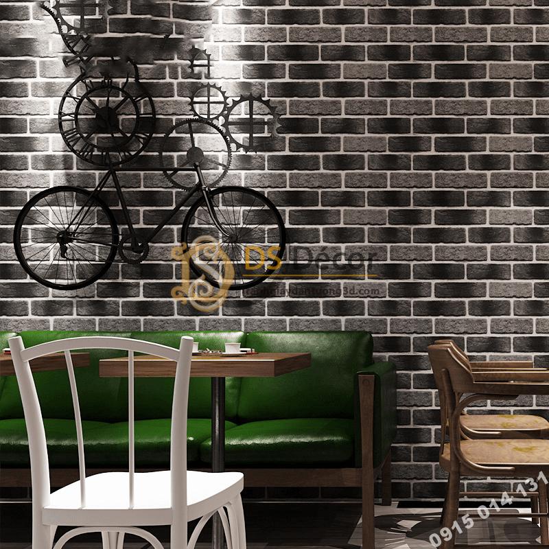 Giấy dán tường giả gạch cháy xám đen 3D302 quán cafe trà sữa
