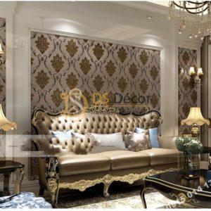 Giấy dán tường tân cổ điển 3D300 màu nâu phòng khách
