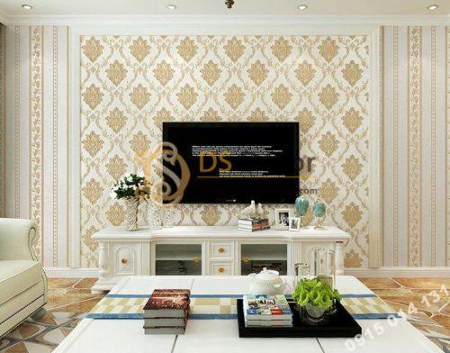 Giấy dán tường tân cổ điển 3D300 màu vàng nhạt phòng khách