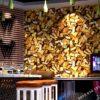 Giấy dán tường thỏi vàng cho tiệm vàng, quán karaoke 3D297