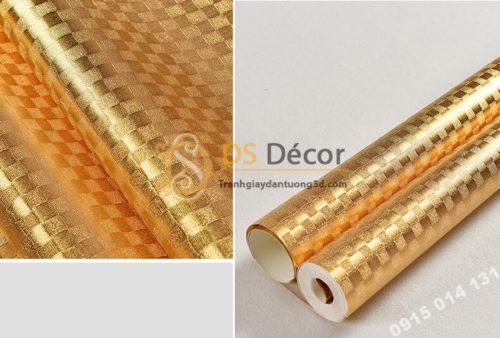 Giấy dán trần vàng óng sang trọng 3D298 vân ô vuông