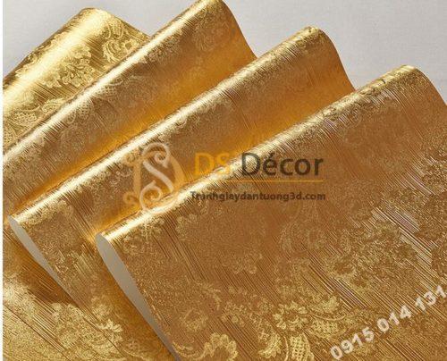Giấy dán trần vàng óng sang trọng 3D298 vân hoa