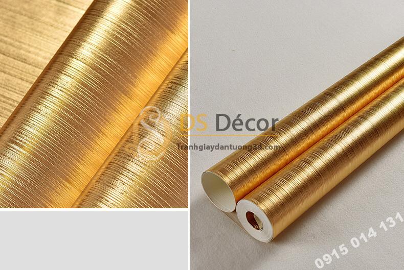 Giấy dán trần vàng óng sang trọng 3D298 vân sọc