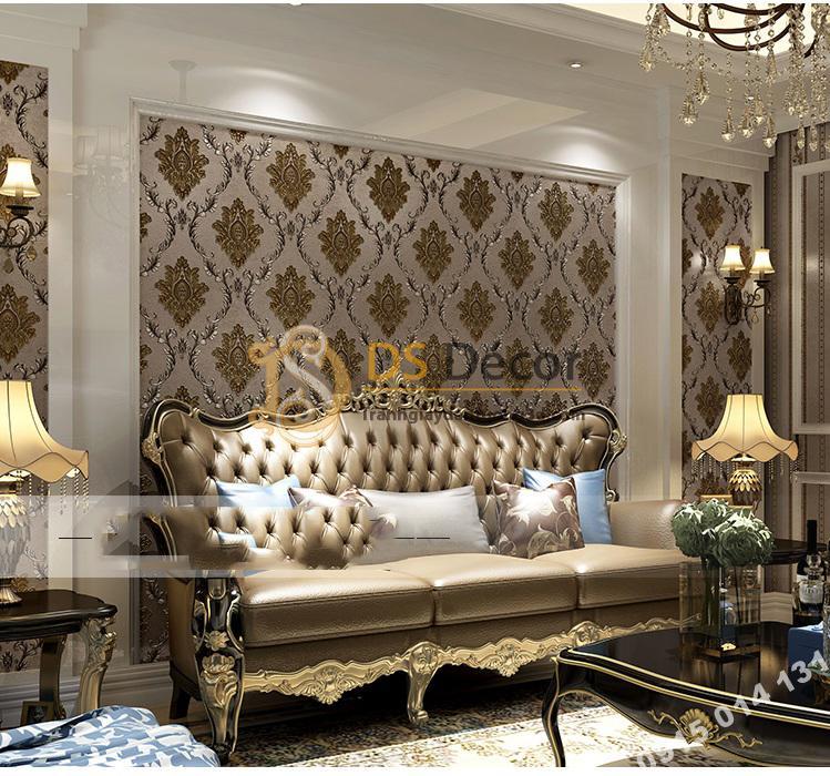 Giấy dán tường cổ điển cho phòng khách đẹp