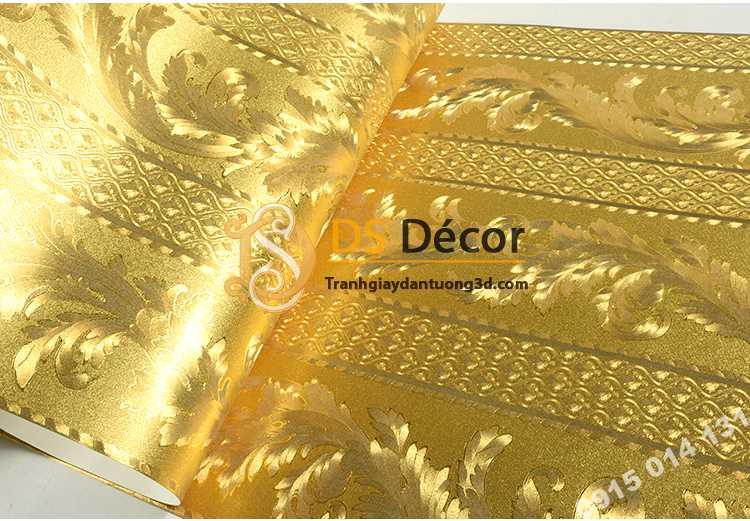 Giấy dán tường mạ vàng vân lá xen sọc dọc 3D298