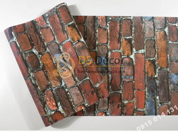 Bề mặt Giấy dán tường giả gạch màu nâu đỏ 3D304