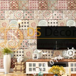 Giấy dán tường giả gạch bông 3D303 màu đỏ nâu trang trí phòng khách