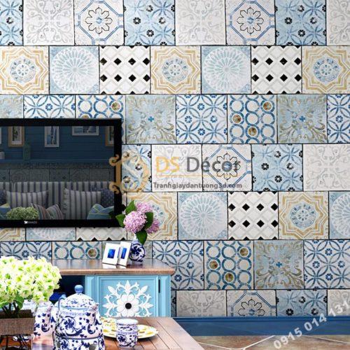 Giấy dán tường giả gạch bông 3D303 trang trí phòng ăn