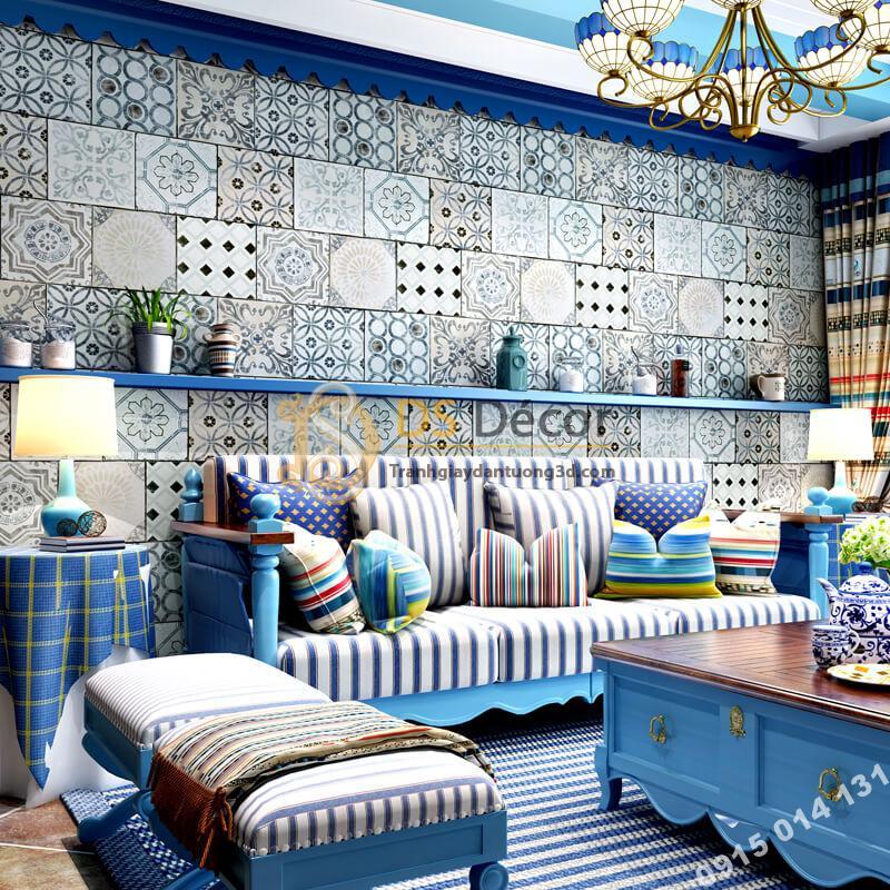 Giấy dán tường giả gạch bông 3D303 trang trí phòng khách