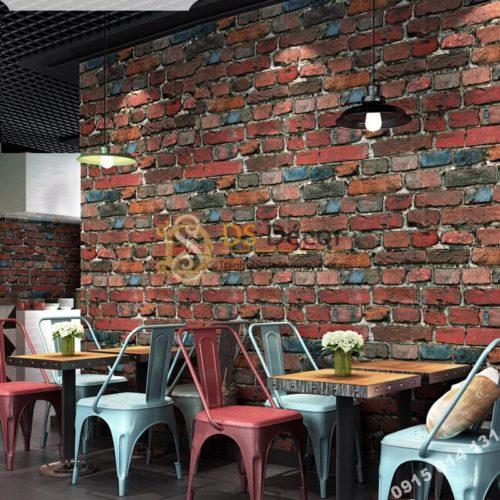 Giấy dán tường giả gạch màu nâu đỏ 3D304 quán cafe