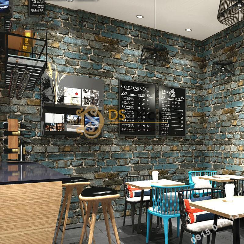 Giấy dán tường giả gạch màu xanh đen 3D304 quán cafe