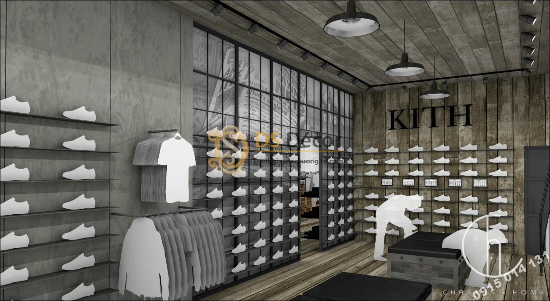 Giấy dán tường giả xi măng, giả gỗ cho shop giày dép