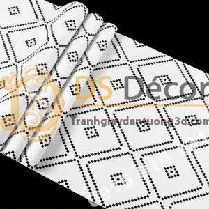 Bề mặt Giấy dán tường hình thoi trắng đen 3D308