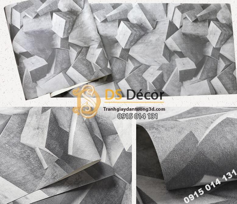 Bề mặt Giấy dán tường họa tiết khối đá 3 chiều 3D306 màu xám