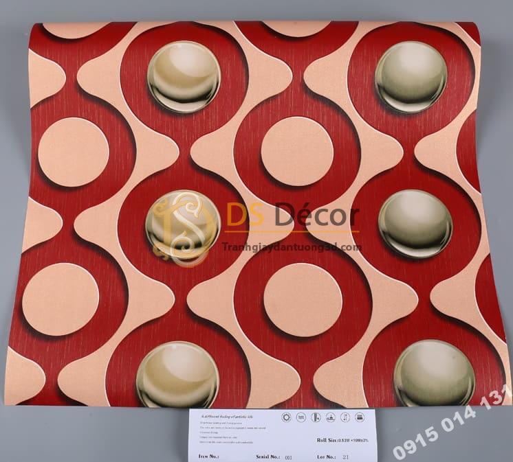 Bề mặt Giấy dán tường karaoke mắt xích tròn màu đỏ 3D309