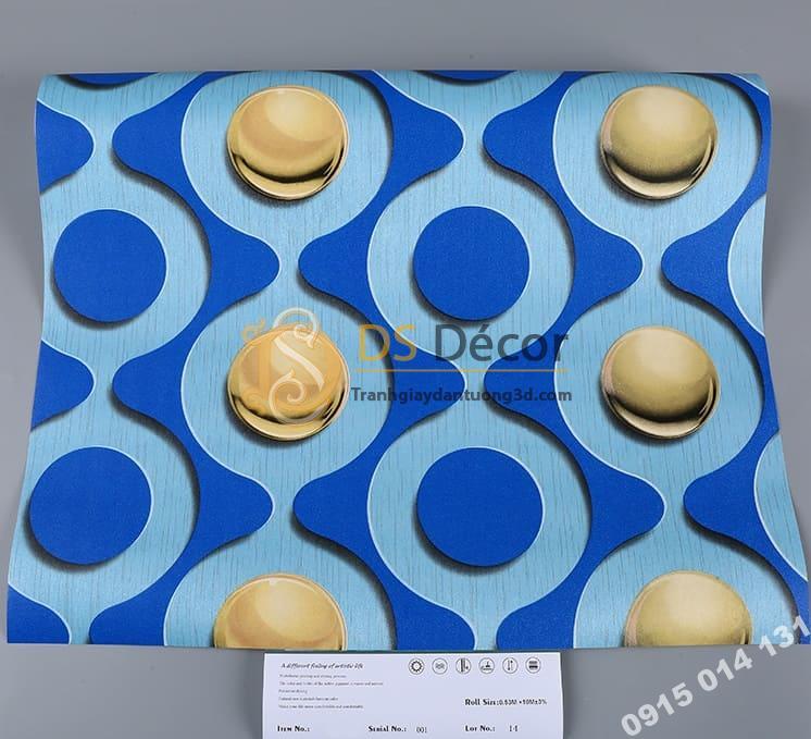 Bề mặt Giấy dán tường karaoke mắt xích tròn màu xanh 3D309