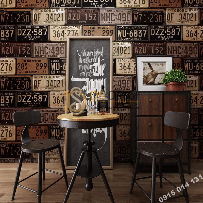 Giấy dán tường họa tiết biển số xe cho quán cafe trà sữa 3D307 màu nâu nhạt