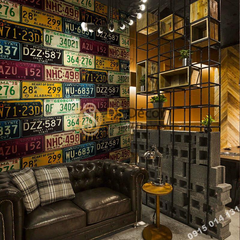 Giấy dán tường họa tiết biển số xe cho quán cafe trà sữa 3D307 màu sáng đậm