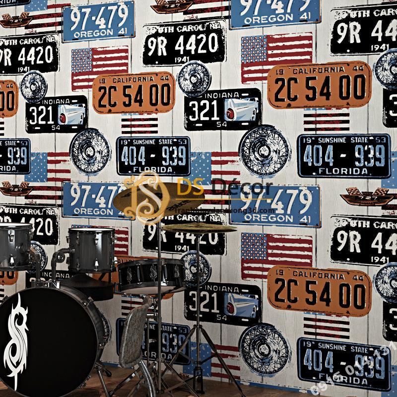 Giấy dán tường họa tiết biển số xe kiểu Mỹ 3D307 tông xanh